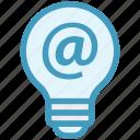 at sign, bulb, energy, idea, internet, light, light bulb