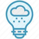 bulb, cloud, energy, idea, light, light bulb, rain icon