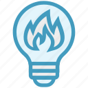 bulb, energy, fire, flame, idea, light, light bulb icon