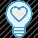 bulb, energy, heart, idea, light, light bulb, love