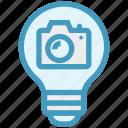 bulb, camera, energy, idea, light, light bulb, photo icon