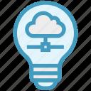 bulb, cloud computing, data, energy, idea, light, light bulb
