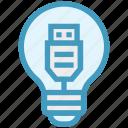bulb, data cable, energy, idea, light, light bulb, usb cable icon