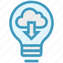bulb, cloud, downloading, energy, idea, light, light bulb