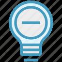 bulb, energy, idea, light, light bulb, minus, remove icon