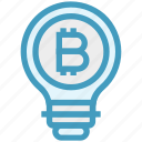 bitcoin, bulb, energy, idea, light, light bulb, money icon