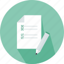 checklist, commerce, letter, lines, paper, pen, wishlist icon
