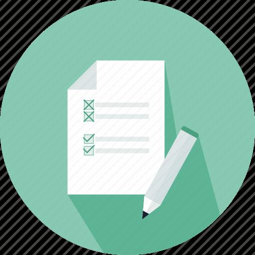 checklist, commerce, letter, lines, paper, pen, wishlist icon