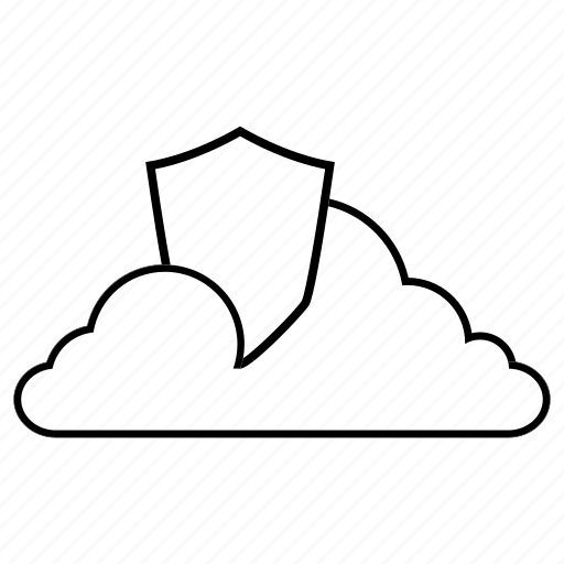 Cloud, internet, line, safe, security, shield, storage icon - Download on Iconfinder