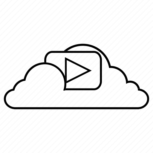 cloud, content, line, media, service, storage, video icon