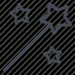 magic, magician, stars, tool, wand icon