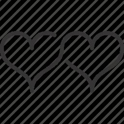heart, hearts, line, love, valentine icon