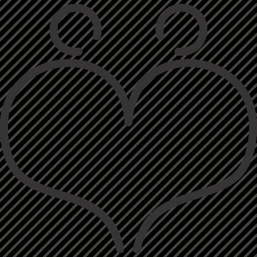 couple, heart, line, love, people, valentine icon
