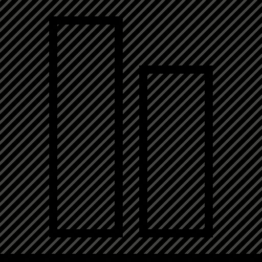 align, bottom, graph, software, vertical icon