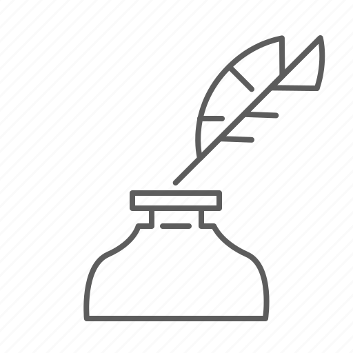 feather, ink, quill, write, writer icon