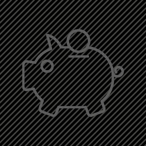 bank, cash, coin, coins, money, piggy, piggy bank, saving, savings icon