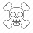 bones, dead, death, pirate, skeleton, skull icon