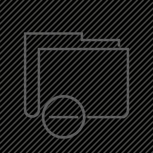 delete, document, file, folder, hide, minus, remove icon