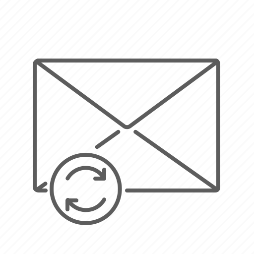 communication, email, envelope, mail, mailbox, message, refresh, update icon