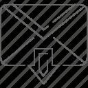 arrow, communication, down, email, envelope, message, send
