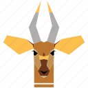 animal, animal face, cartoon, deer, deer face, gazelle, linear animal icon