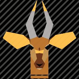 animal, animal face, cartoon, deer, deer face, gazelle, linear animal icon