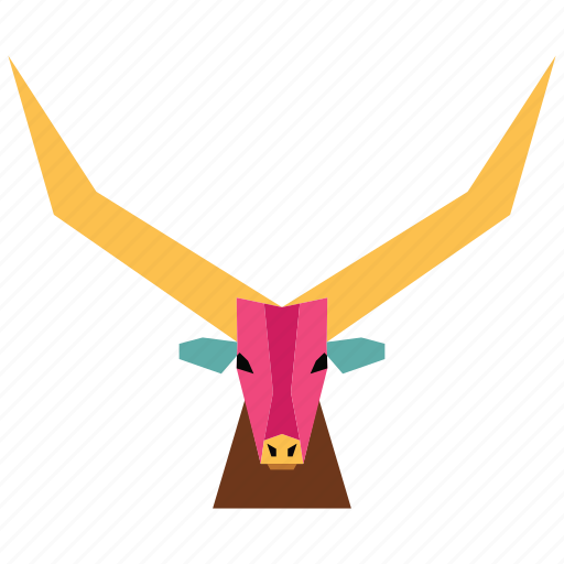 animal, animal face, antilope, buffalo, bull, cartoon, linear animal icon