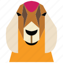 animal, animal face, goat, goat face, linear animal, sheep icon