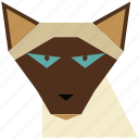 animal, animal face, cartoon, cat, cat face, linear animal, siamese icon