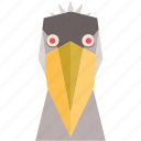 animal, animal face, bird, bird face, cartoon, linear animal, pelican face icon