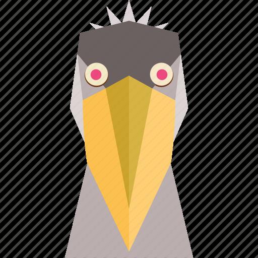 animal, animal face, bird, bird face, cartoon, linear animal, pelican face icon