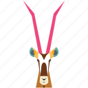 animal, animal face, antilope, cartoon, deer, deer face, linear animal icon