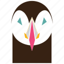 animal, animal face, cartoon, darkness, linear animal, owl, owl face icon