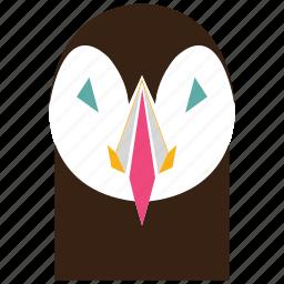 animal, animal face, cartoon, darkness, linear animal, owl, owl face icon