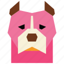 animal, animal face, cartoon, dog, dog face, linear animal, pitbull icon