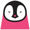 animal, animal face, bird, cartoon, linear animal, penguin, penguin face icon