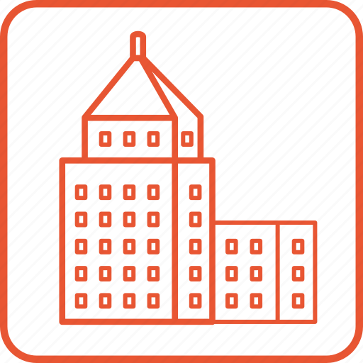 architecture, building, city, house, linear, property, town icon