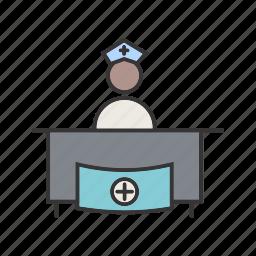 healthcare, hospital, medical, reception icon