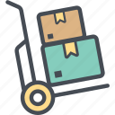 boxes, cargocart, delivery, logistics, package, shipping, transport icon