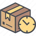 boxperspectivedelay, cargo, delivery, logistics, packages, shipping icon