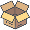 boxopen, cargo, delivery, logistics, packages, shipping icon