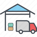 cargo, delivery, logistics, packages, shipping, storagetruck icon