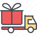 cargo, delivery, gift, logistics, packages, shipping, truckyellowred icon