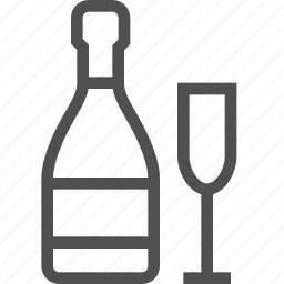 alcohol, booze, bottle, champagne, drink, glass, wine icon
