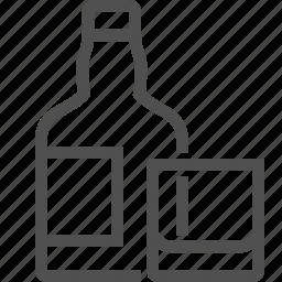 alcohol, booze, bottle, drink, ethanol, glass, whisky icon