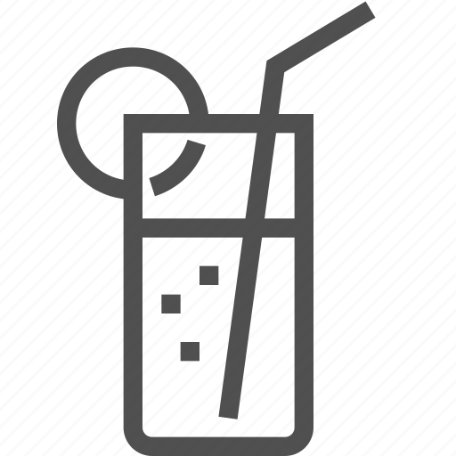 cocktail, drink, glass, juice, lemon, soda, straw icon