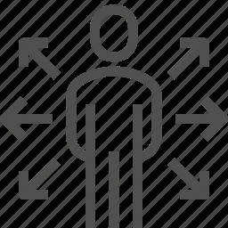 arrow, extend, human, man, opportunities, user, ways icon
