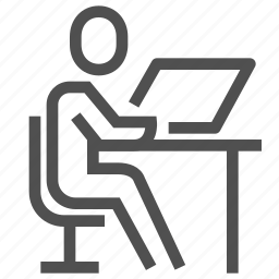 computer, human, laptop, man, person, user, workplace icon
