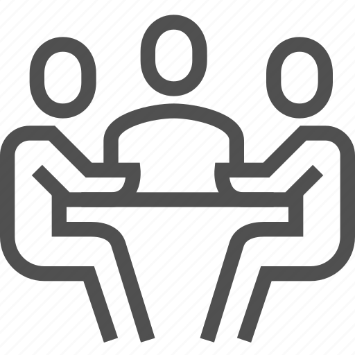 business, collaborate, communication, discuss, meeting, table, talk icon