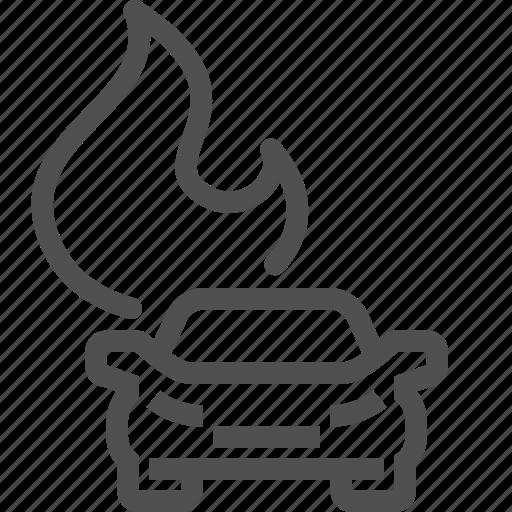 accident, auto, burn, car, crash, damaged, fire icon